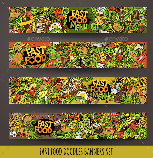 Fast Food Banners Design - Food Objects