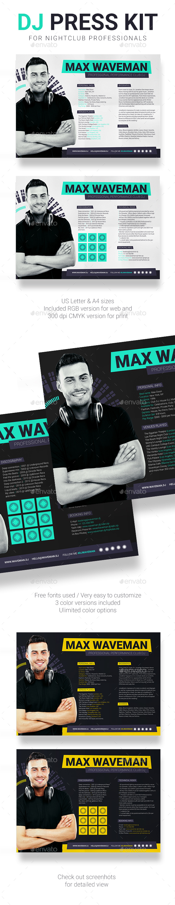 ProDJ - DJ Press Kit / Rider / Resume PSD Template - Resumes Stationery