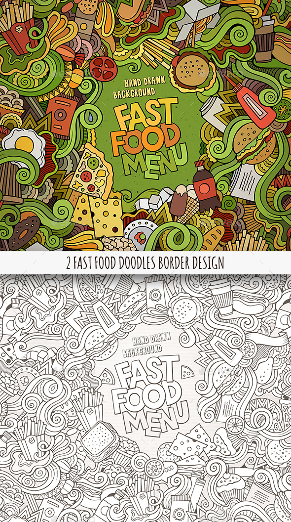 2 Fast Food Doodles Frames - Food Objects