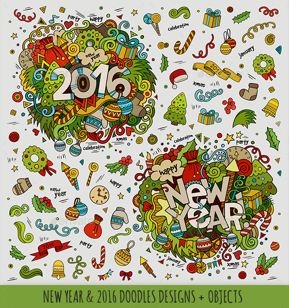 2016 & New Year Doodles Designs - Seasons/Holidays Conceptual
