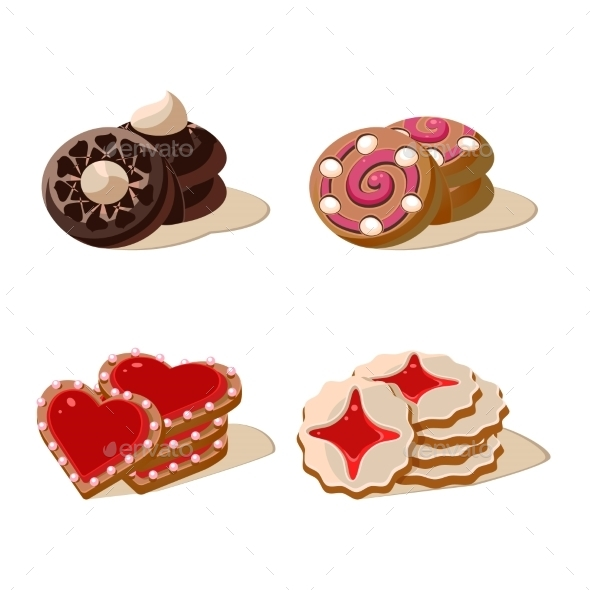Tasty Cookies Vector Illustration Set - Food Objects
