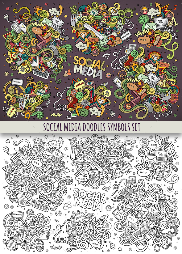 Social Doodles Objects Set - Communications Technology