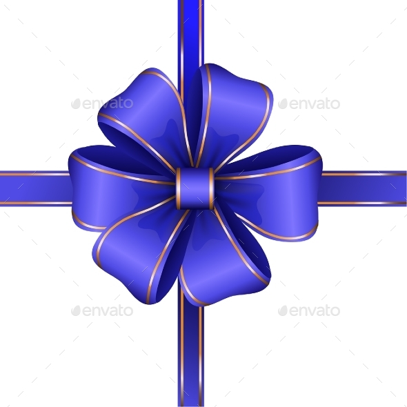 Blue Gift Bow with Ribbon - Valentines Seasons/Holidays