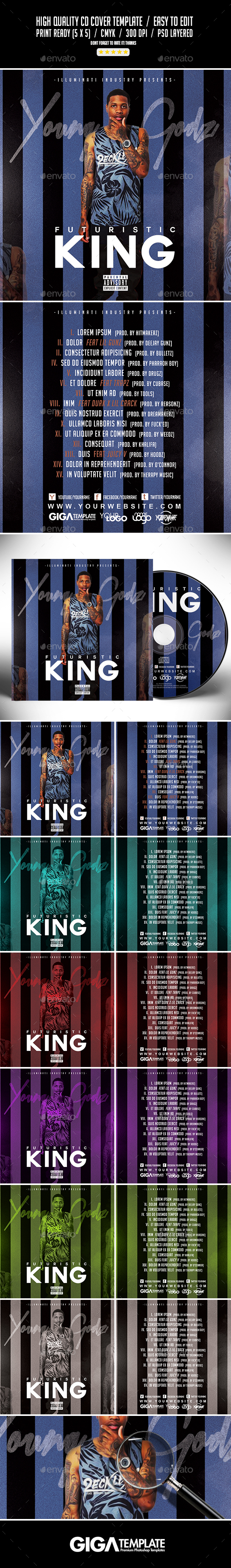Futuristic King | Mixtape Album CD Cover Template - CD & DVD Artwork Print Templates