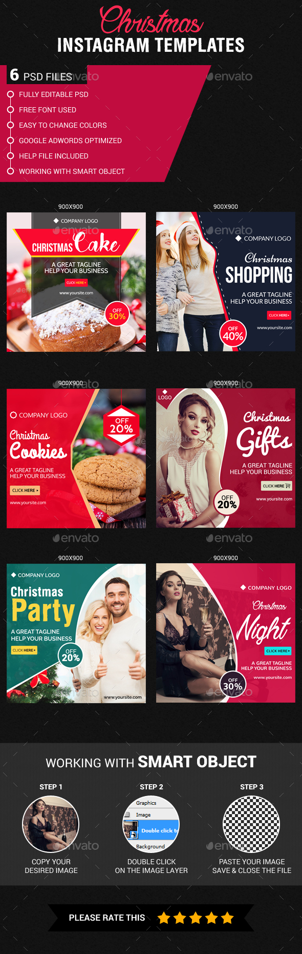 Christmas Instagram Templates - Banners & Ads Web Elements