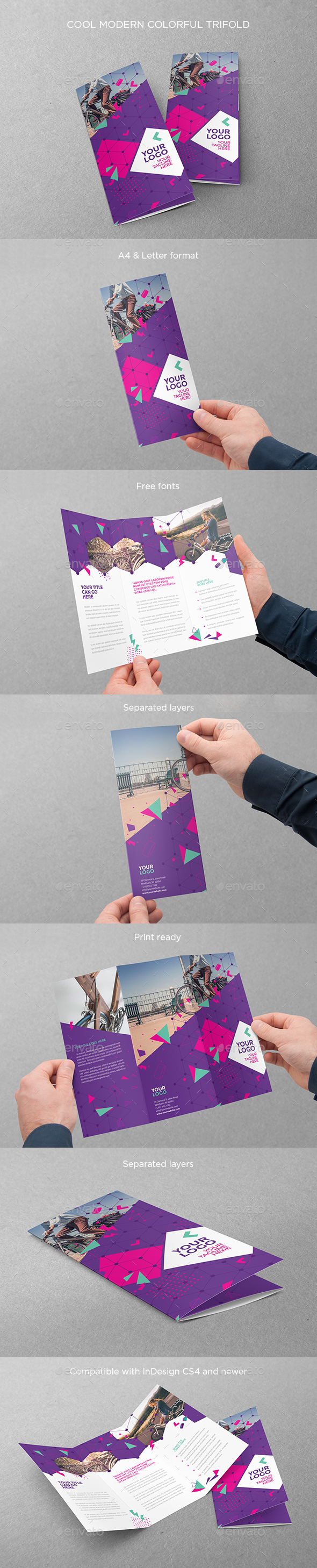 Cool Modern Colorful Trifold - Brochures Print Templates