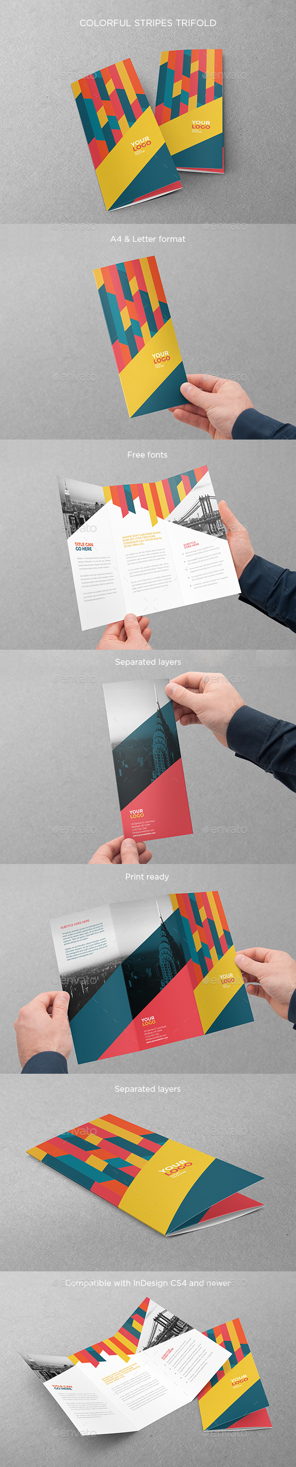 Colorful Stripes Trifold - Brochures Print Templates