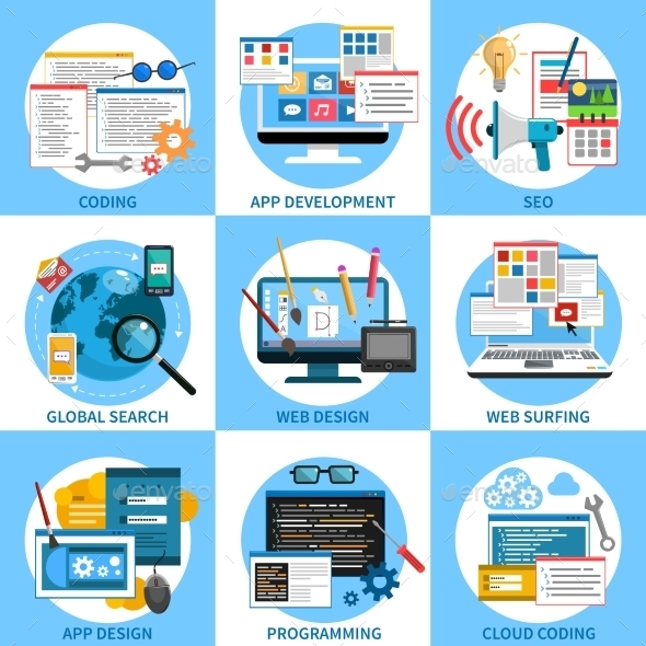 Web Development Concept Set - Computers Technology