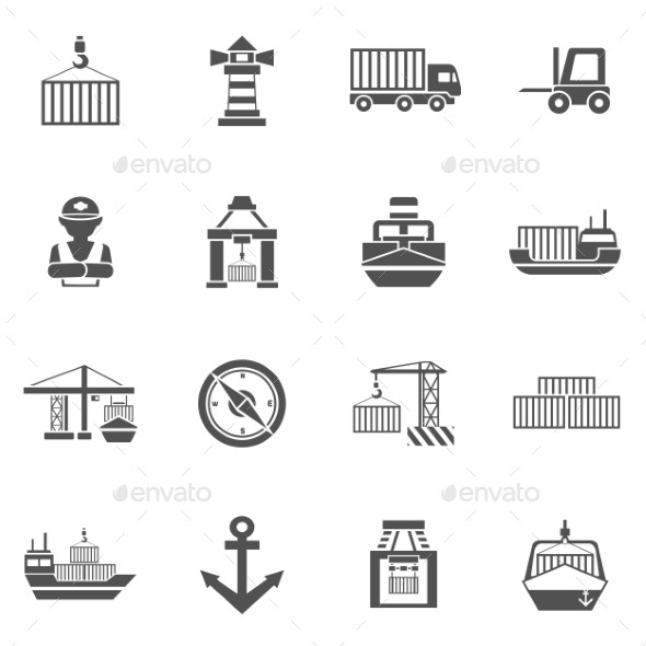 Seaport Black Icons  Set - Media Icons