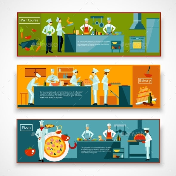 Cooking People Banner Set - Food Objects