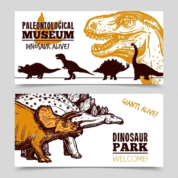 Dinosaurs Museum Exposition 2 Banners Set  - Miscellaneous Conceptual