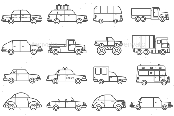 Cars Line Icons Set  - Man-made objects Objects