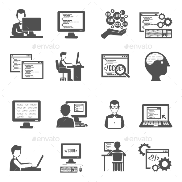 Programmer Icons Set - Computers Technology