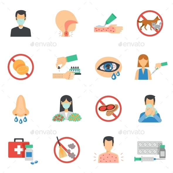Allergy Icons Flat Set - Health/Medicine Conceptual