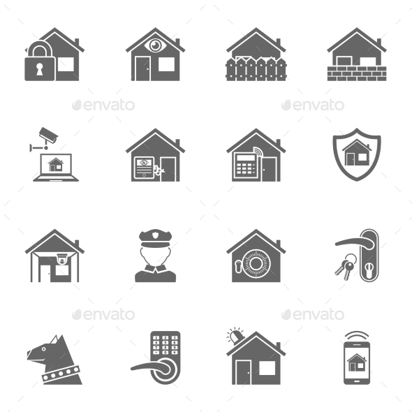 Smart Home Security System Black Icons Set - Technology Icons
