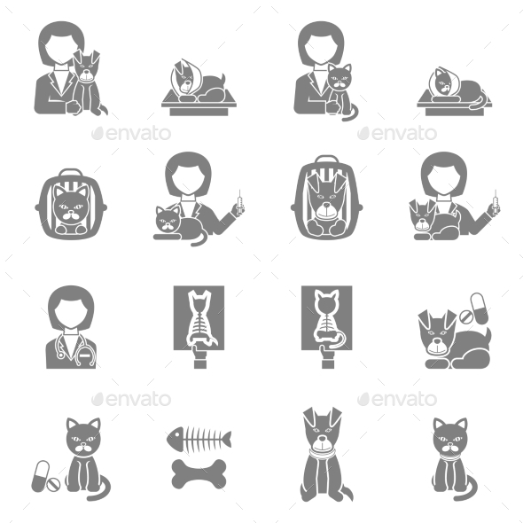 Veterinary Clinic Visit Black Icons Set - Miscellaneous Icons