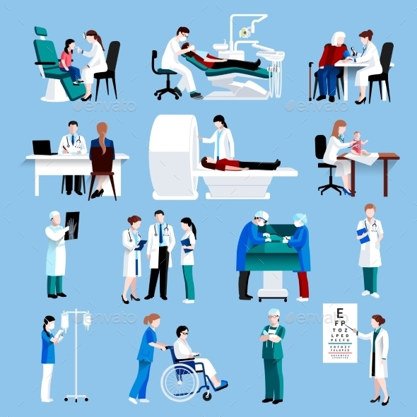 Medical Care People Fllat Icons Set  - Health/Medicine Conceptual