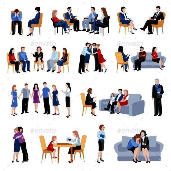 Problematic Families Counseling Flat Icons Set - People Characters