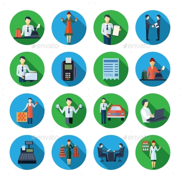 Salesman Flat Round Icons Set - Abstract Icons
