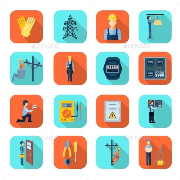 Electricity Man Professional Flat Icons Collection - Man-made objects Objects