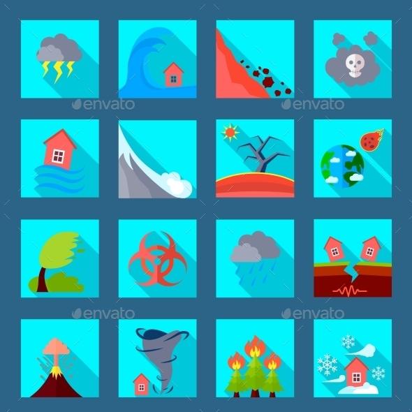 Natural Disaster Flat Icons Set - Abstract Icons