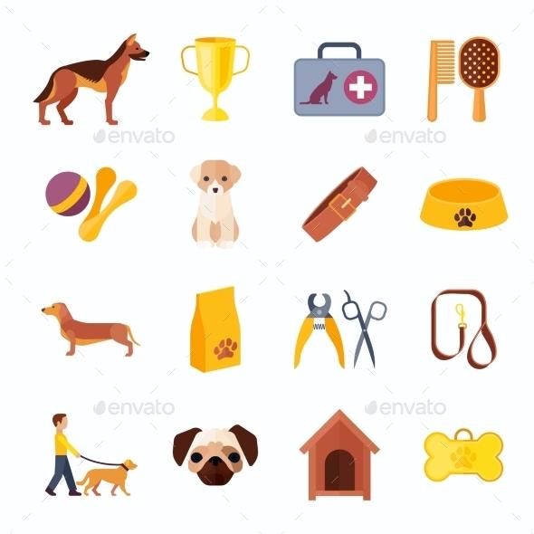 Pets Dog Flat Icons Set  - Animals Characters