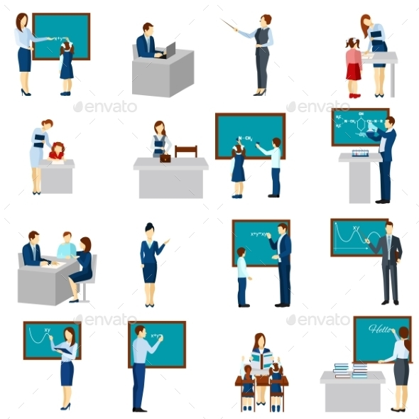 Teacher and Pupils Flat Icons Set - People Characters