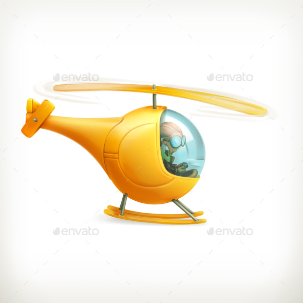 Yellow Helicopter - Man-made Objects Objects