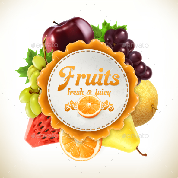 Fruits Label - Food Objects