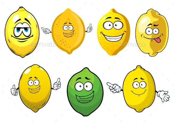 Cartoon Ripe Lemons and Lime Fruits - Food Objects