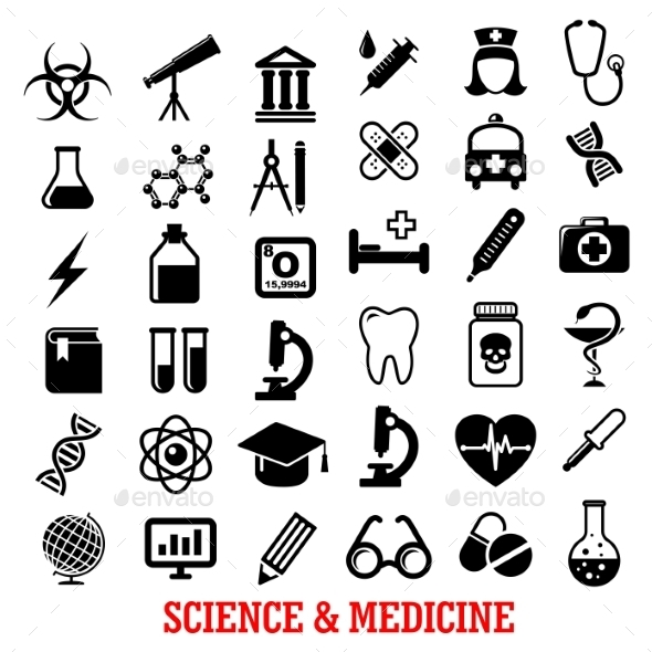 Science and Medicine Flat Icons - Man-made Objects Objects