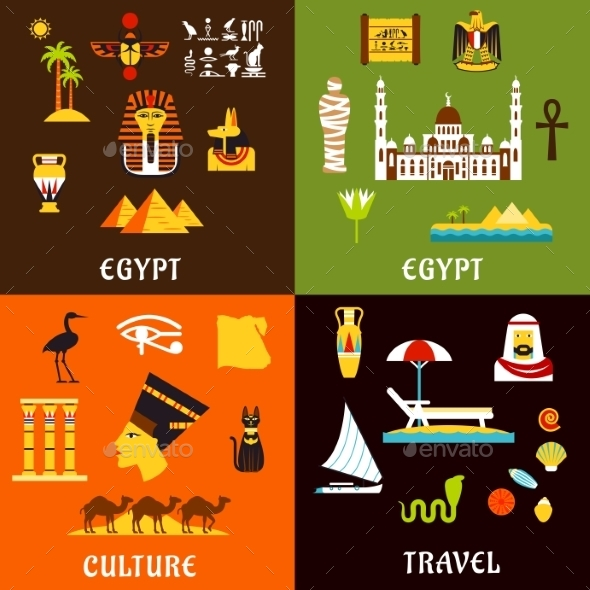 Egypt Travel and Culture Icons in Flat Style - Travel Conceptual