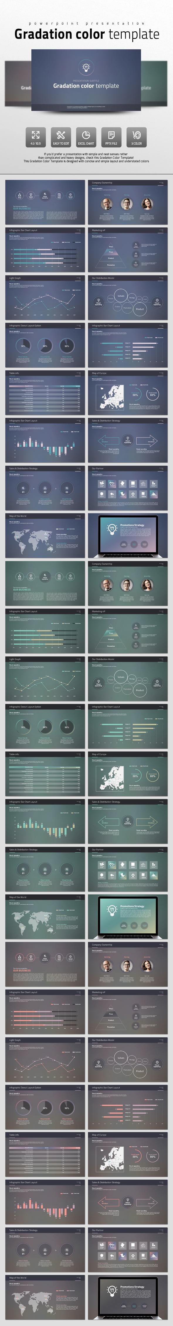 Gradation Color Template - PowerPoint Templates Presentation Templates