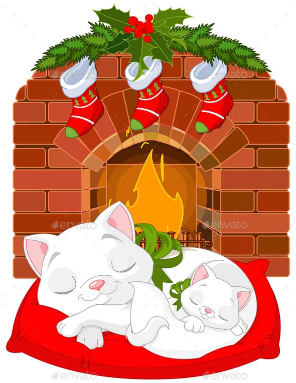 Kitten Near Fireplace - Christmas Seasons/Holidays