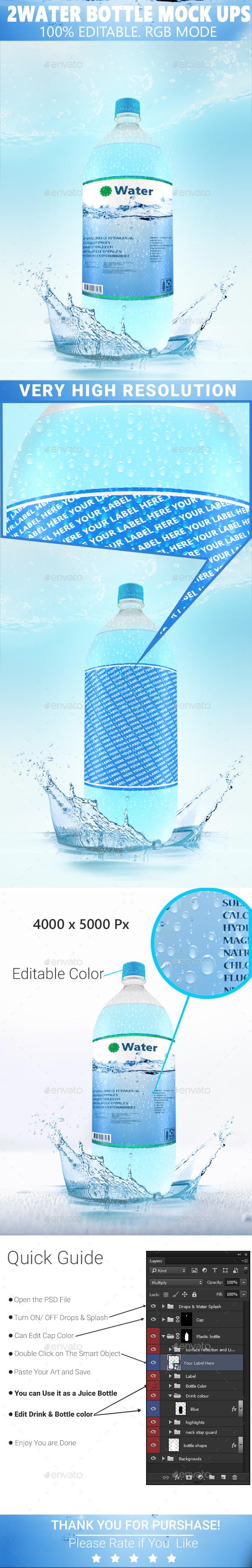 Water Bottle Mock-ups  - Product Mock-Ups Graphics