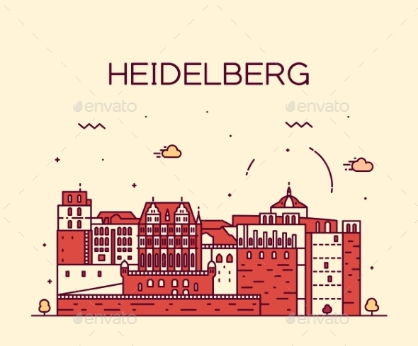 Heidelberg Skyline Linear Illustration  - Landscapes Nature