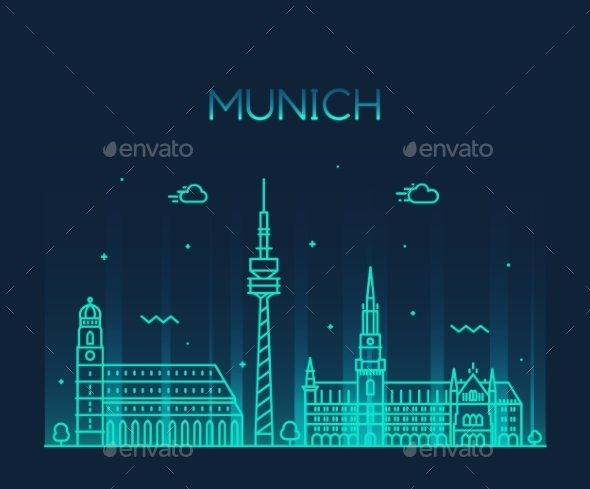 Munich Skyline Illustration Linear Style - Buildings Objects