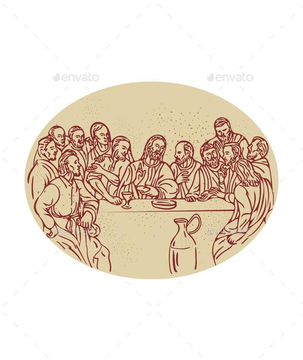 Last Supper Jesus Apostles Drawing - Religion Conceptual