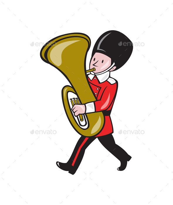 Brass Band Member Playing Tuba Cartoon - People Characters