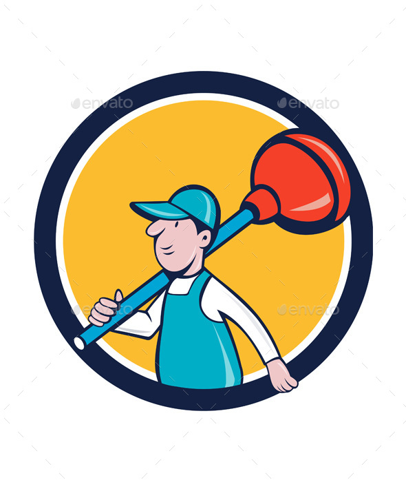 Plumber Carrying Plunger Walking Circle Cartoon - People Characters