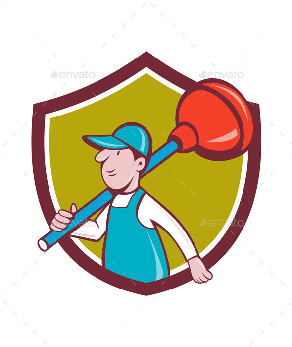 Plumber Carrying Plunger Walking Shield Cartoon - People Characters