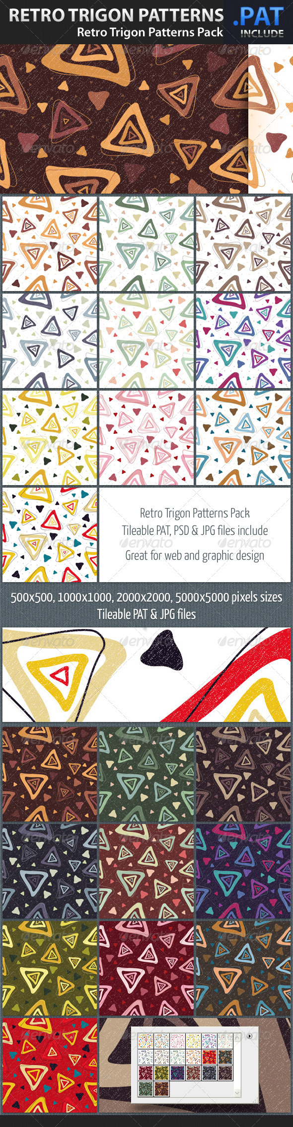 Retro Trigon Patterns Pack - Art Textures