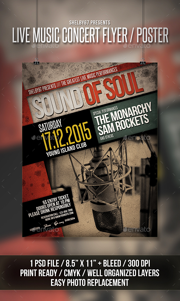Live Music Concert Flyer / Poster - Events Flyers