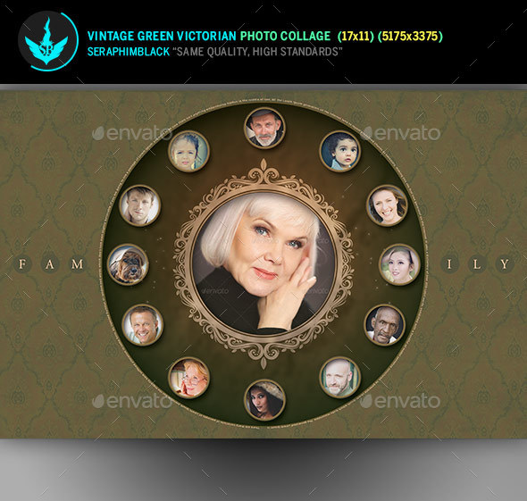 Vintage Green Victorian Photo Collage Template - Photo Templates Graphics