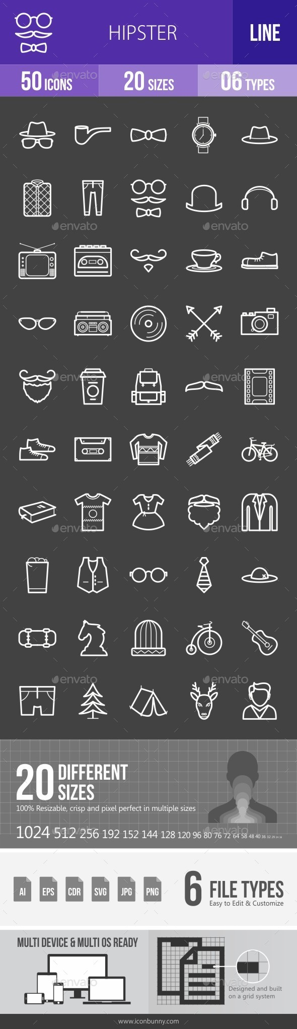 Hipster Line Inverted Icons - Icons