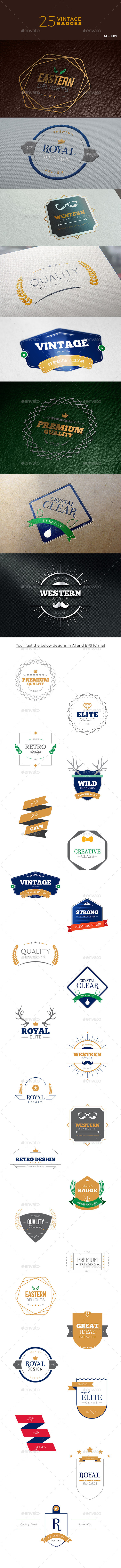 Vintage Badges - Badges & Stickers Web Elements