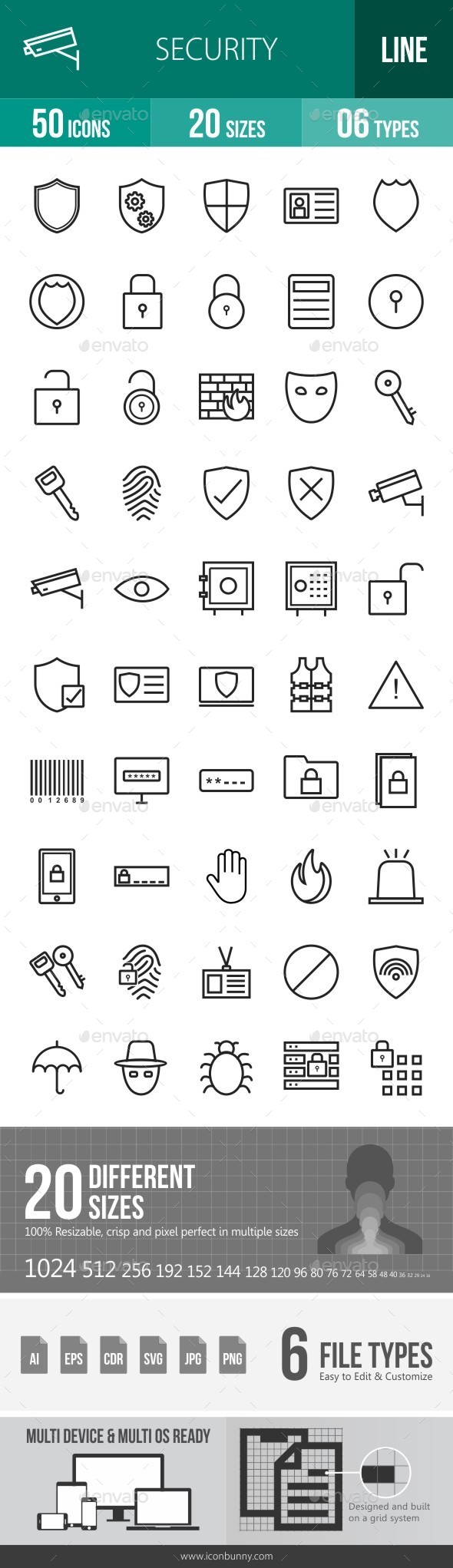 Security Line Icons - Icons