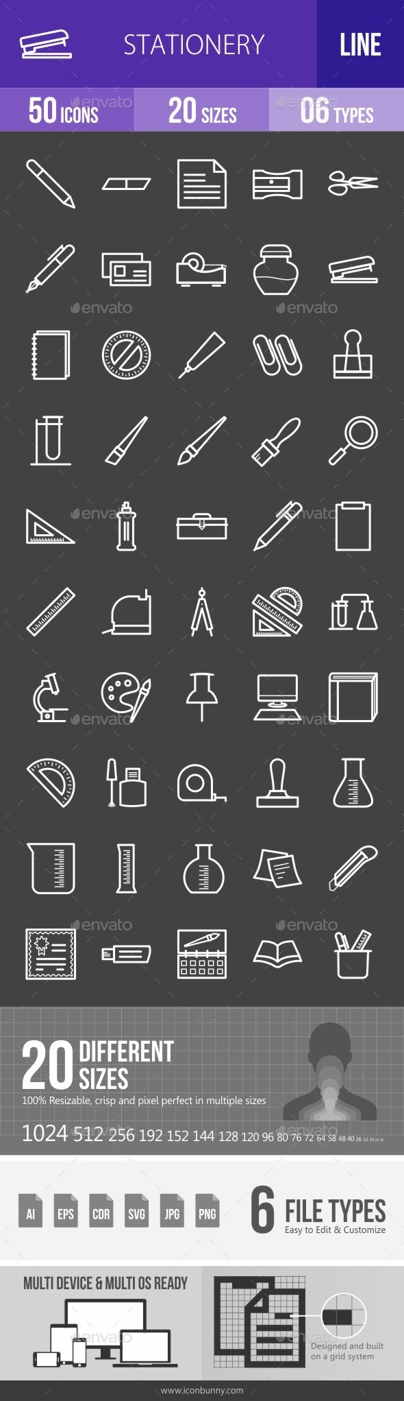 Stationery Line Inverted Icons - Icons