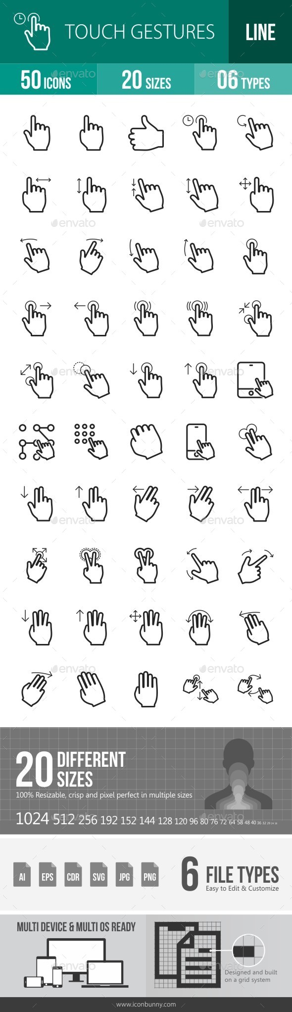 Touch Gestures Line Icons - Icons