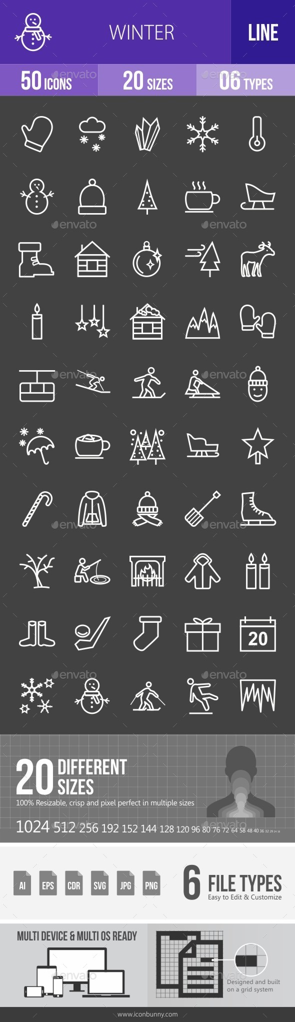 Winter Line Inverted Icons - Icons